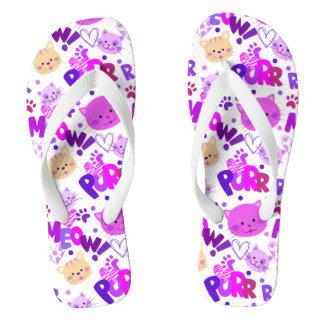 Cute Cartoon Cats Pattern Flip Flops