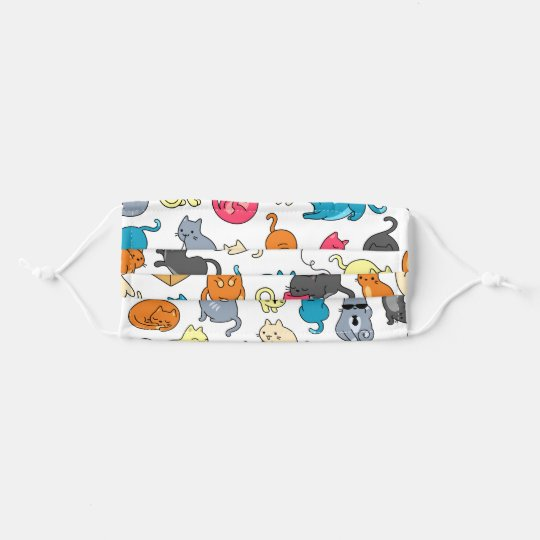 Cute Cartoon Cats Pattern Personalized Adult Cloth Face Mask