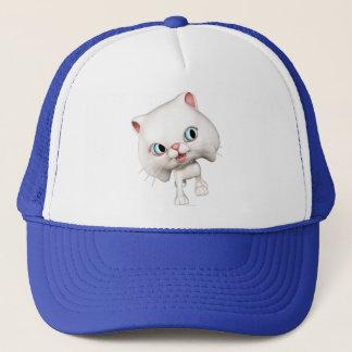 Cute Cartoon Cats: Purrella the White Kitten Trucker Hat