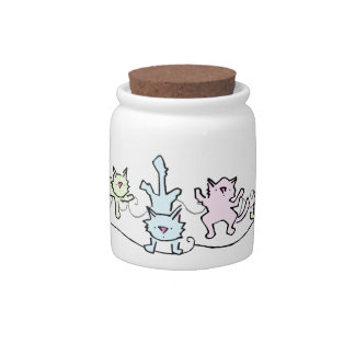 Cute Cartoon Cats Treat Jar Candy Dish