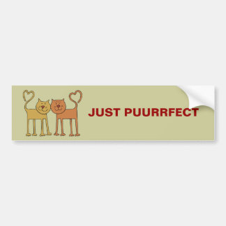 Cute Cartoon Cats with Tails Curved to Hearts Bumper Sticker