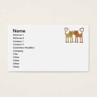 Cute Cartoon Cats with Tails Curved to Hearts Business Card