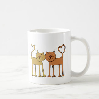 Cute Cartoon Cats with Tails Curved to Hearts Coffee Mug