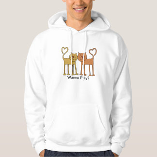 Cute Cartoon Cats with Tails Curved to Hearts Hoodie