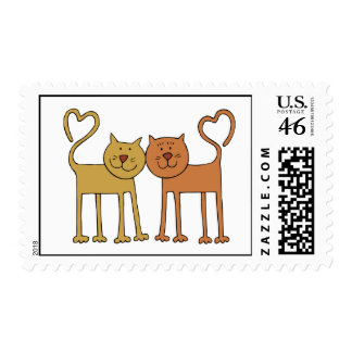 Cute Cartoon Cats with Tails Curved to Hearts Stamp