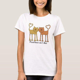 Cute Cartoon Cats with Tails Curved to Hearts T-Shirt