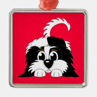 Cute Cartoon Cavachon Metal Ornament