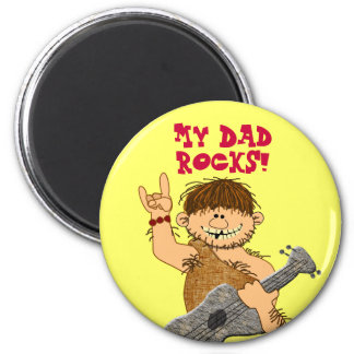 Cute Cartoon Caveman My Dad Rocks for Father 2 Inch Round Magnet