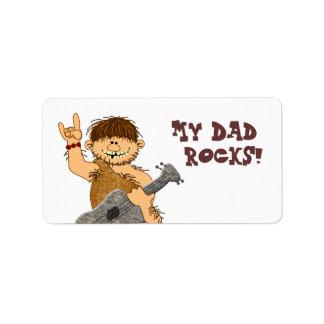Cute Cartoon Caveman My Dad Rocks for Father Address Label