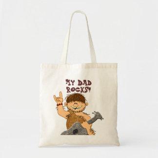 Cute Cartoon Caveman My Dad Rocks for Father Budget Tote Bag