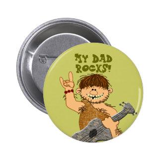 Cute Cartoon Caveman My Dad Rocks for Father Pinback Button