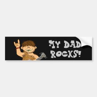 Cute Cartoon Caveman My Dad Rocks for Father Car Bumper Sticker