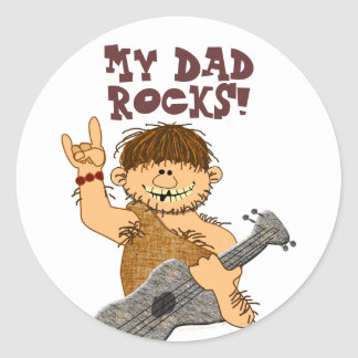 Cute Cartoon Caveman My Dad Rocks for Father Classic Round Sticker