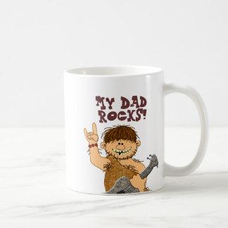 Cute Cartoon Caveman My Dad Rocks for Father Classic White Coffee Mug