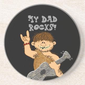 Cute Cartoon Caveman My Dad Rocks for Father Drink Coaster