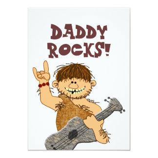 Cute Cartoon Caveman My Dad Rocks for Father 5x7 Paper Invitation Card