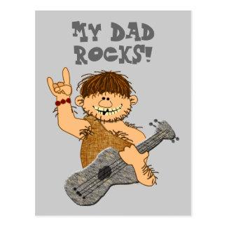 Cute Cartoon Caveman My Dad Rocks for Father Postcard