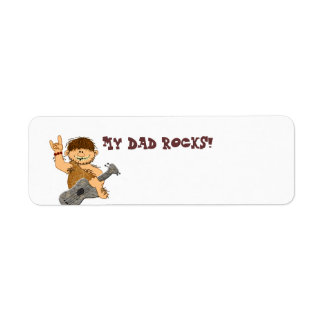 Cute Cartoon Caveman My Dad Rocks for Father Return Address Label