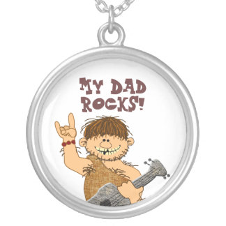 Cute Cartoon Caveman My Dad Rocks for Father Round Pendant Necklace