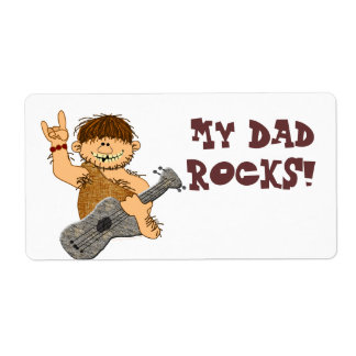 Cute Cartoon Caveman My Dad Rocks for Father Shipping Label