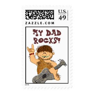 Cute Cartoon Caveman My Dad Rocks for Father Stamps