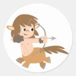 Cute Cartoon Centaur Sagittarius Baby Apparel Round Stickers