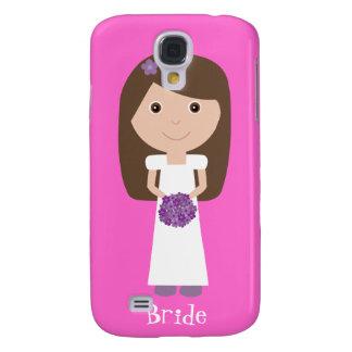 Cute Cartoon Character Bride Customizable Pink Galaxy S4 Case