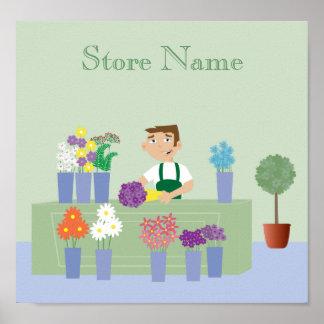 Cute Cartoon Character Florist & Flowers Custom Poster