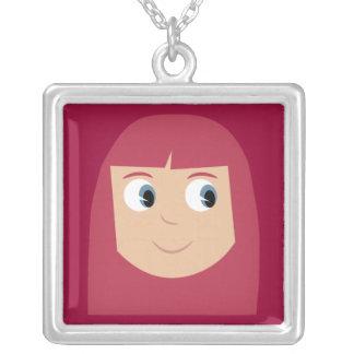 Cute Cartoon Character Redhead Girl Custom Square Pendant Necklace