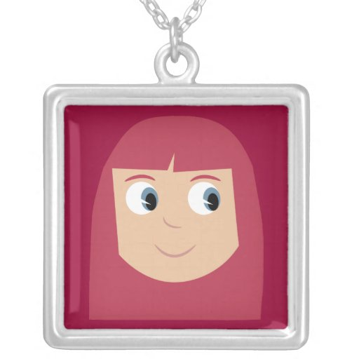 Cute Cartoon Character Redhead Girl Custom Personalized Necklace