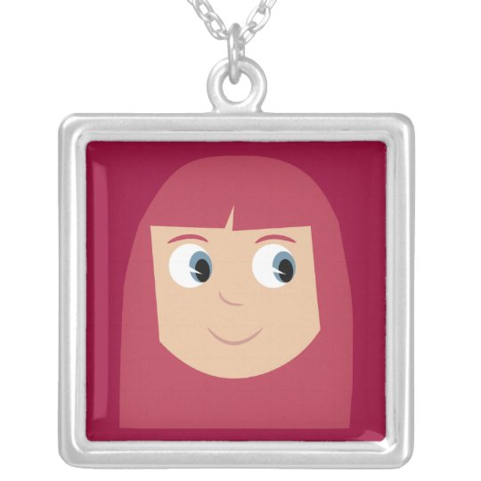 Cute Cartoon Character Redhead Girl Custom Silver Plated Necklace