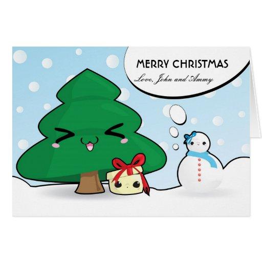 E Card Cartoon Characters : Cute cartoon characters christmas card zazzle