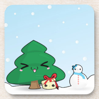 Cute cartoon characters Christmas Drink Coaster