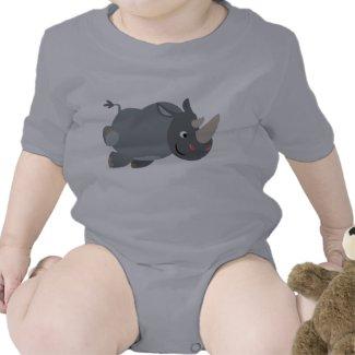 Cute Cartoon Charging Rhino Baby Apparel shirt