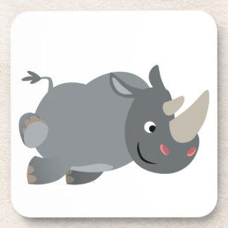 Cute Cartoon Charging Rhino Coasters Set