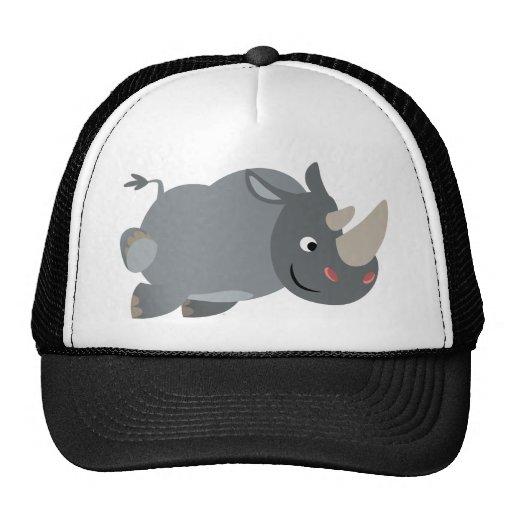 Cute cartoon charging rhino hat zazzle