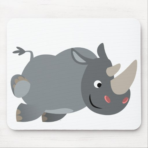 Cute cartoon charging rhino mousepad zazzle