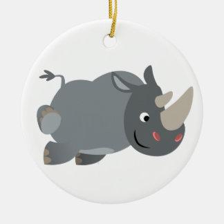 Cute Cartoon Charging Rhino Ornament