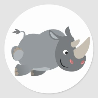 Cute Cartoon Charging Rhino Sticker sticker
