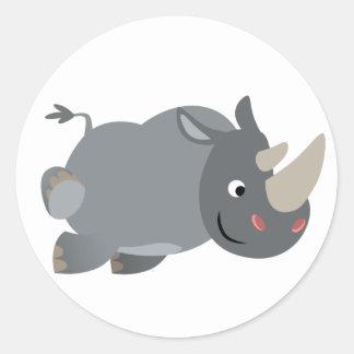 Cute Cartoon Charging Rhino Sticker