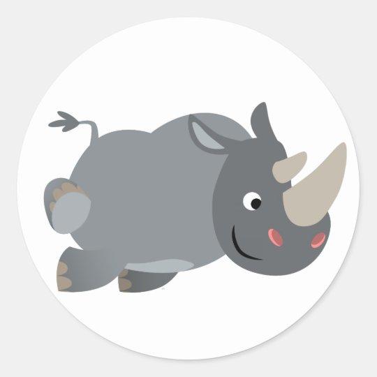 Cute Cartoon Charging Rhino Sticker Zazzle