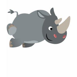 Cute Cartoon Charging Rhino Women T-Shirt shirt