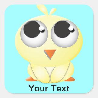 Cute Cartoon Chick Square Sticker