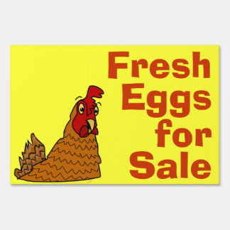 Cute Cartoon Chicken Fresh Eggs for Sale Custom Lawn Sign