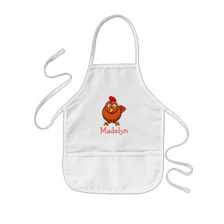 Cute cartoon chicken personalized with childs name kids' apron