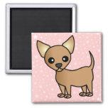 Cute Cartoon Chihuahua 2 Inch Square Magnet