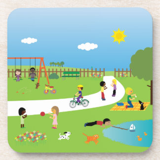 Cute Cartoon Children & Pets Playing In The Park Beverage Coaster