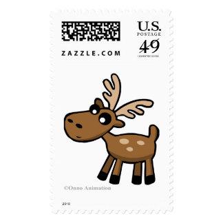 Cute cartoon chocolate Moose from Canada Stamp
