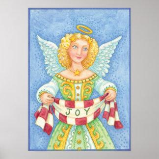 Cute Cartoon Christmas Angel Halo with Joy Banner Poster