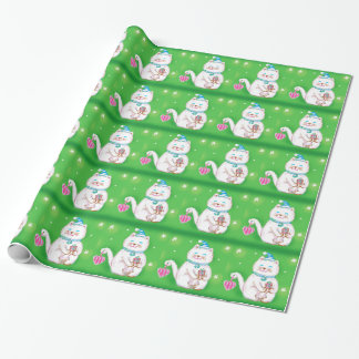 Cute Cartoon Christmas Cat Wearing a Santa Hat Wrapping Paper